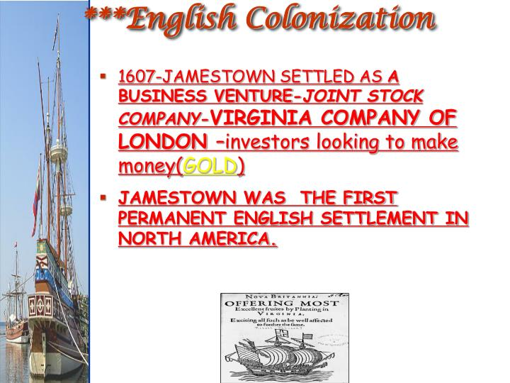 ***English Colonization