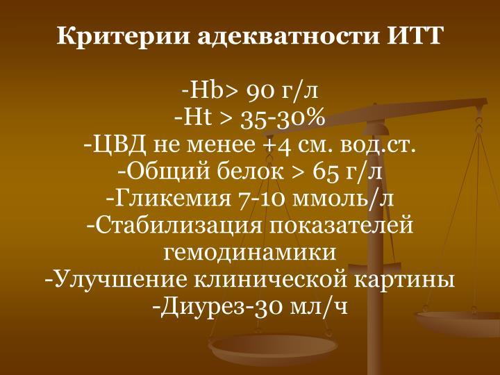 Критерии адекватности ИТТ
