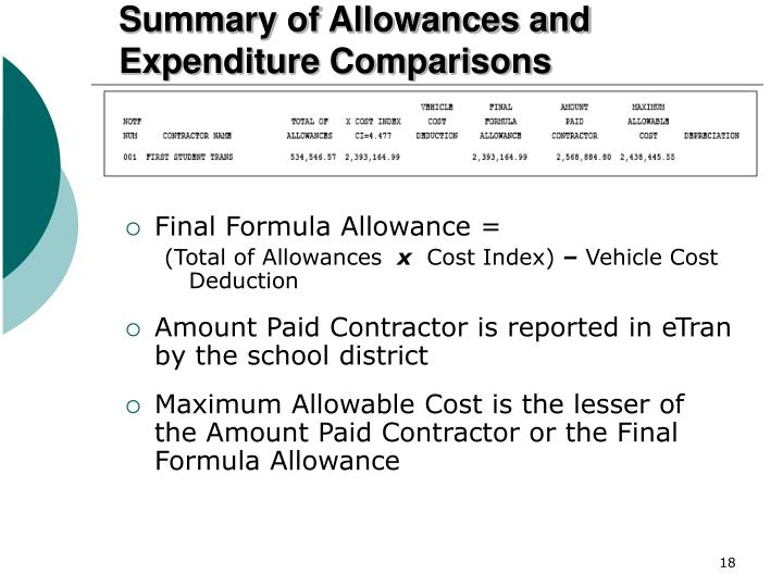 Ppt pde transportation formula and subsidies powerpoint for Allowances in construction contracts