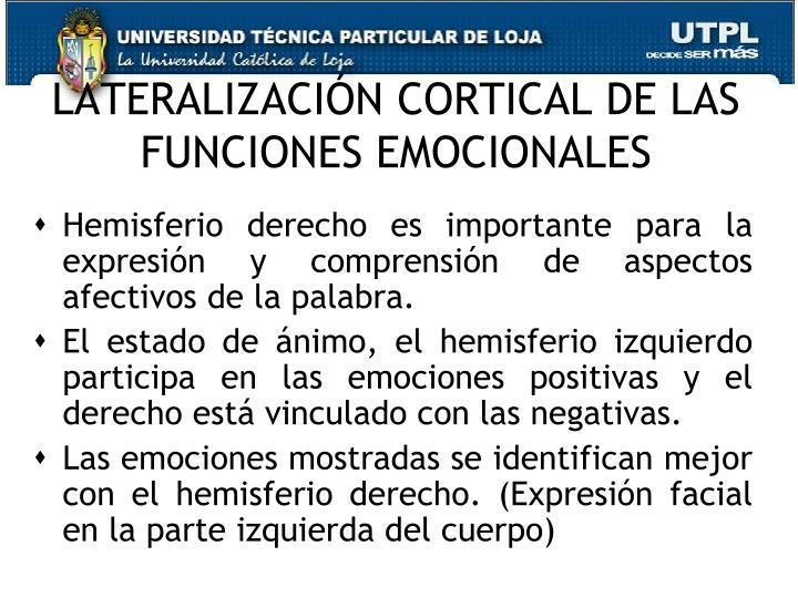 LATERALIZACIÓN CORTICAL DE LAS FUNCIONES EMOCIONALES