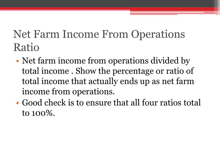 Net Farm Income From Operations Ratio