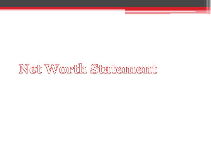 Net Worth Statement