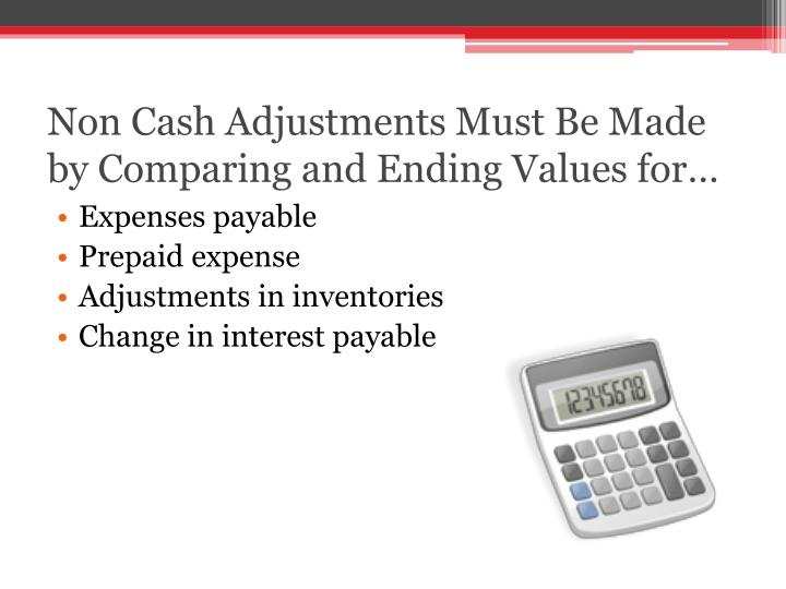 Non Cash Adjustments Must Be Made by Comparing and Ending Values for…