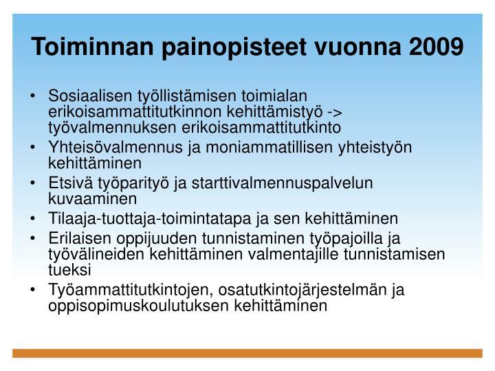 Toiminnan painopisteet vuonna 2009