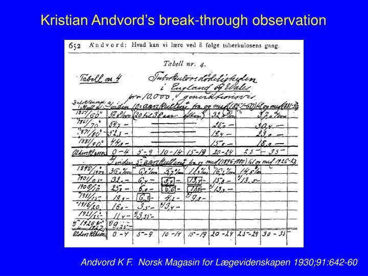 Kristian Andvord's break-through observation
