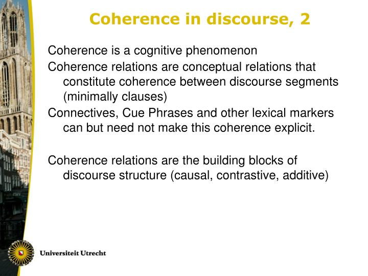 Coherence in discourse, 2