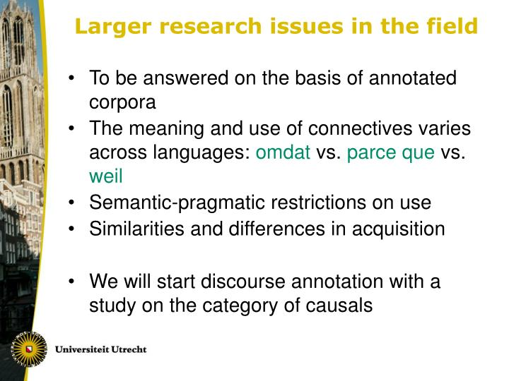 Larger research issues in the field