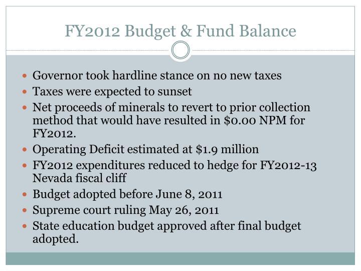 FY2012 Budget & Fund Balance