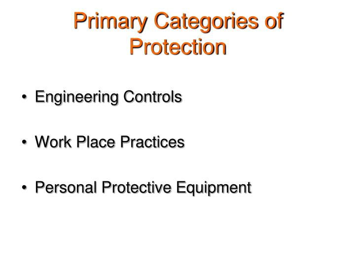 Primary Categories of Protection