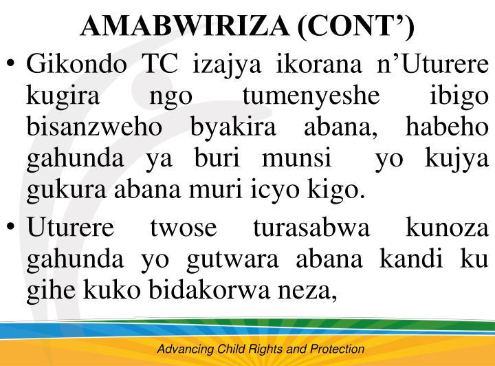 AMABWIRIZA (CONT')