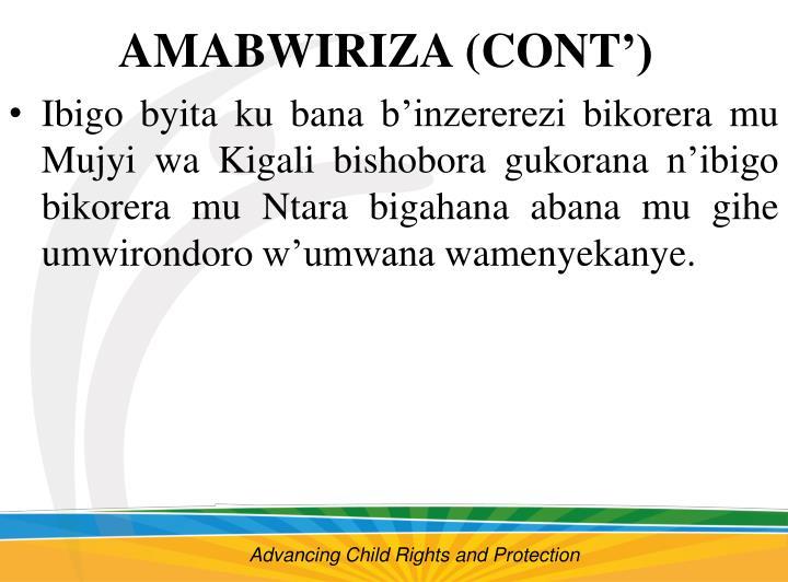 AMABWIRIZA (CONT