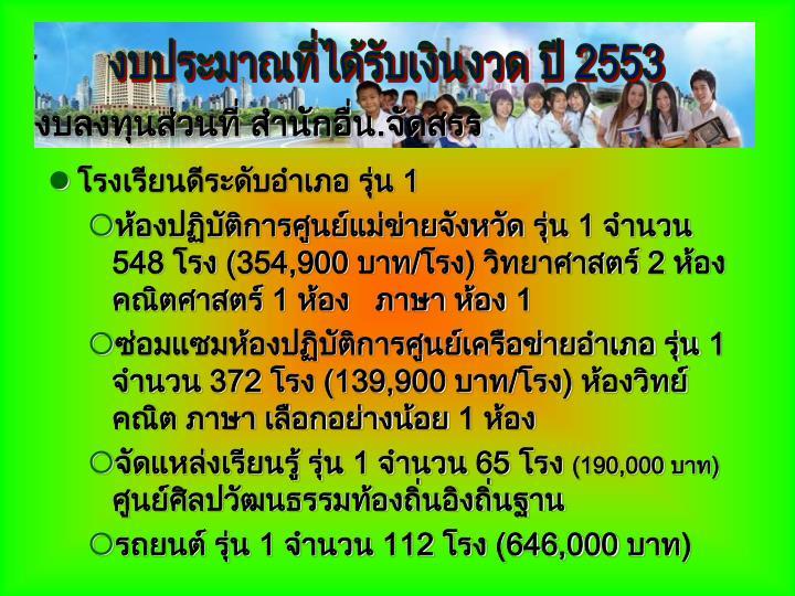 งบประมาณที่ได้รับเงินงวด ปี 2553
