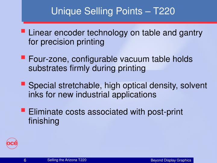 Unique Selling Points – T220