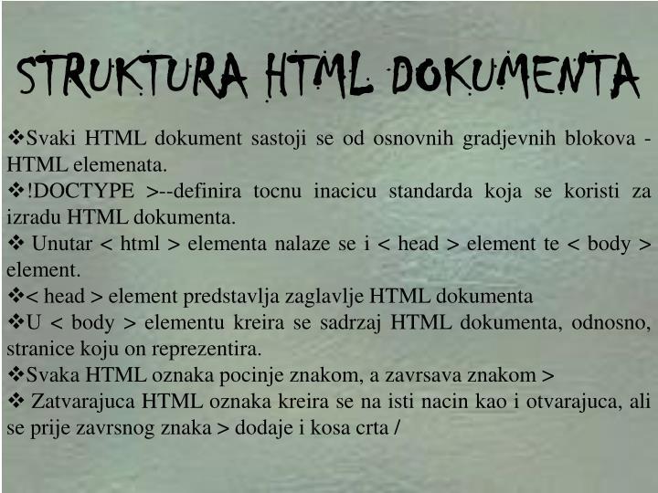 STRUKTURA HTML DOKUMENTA