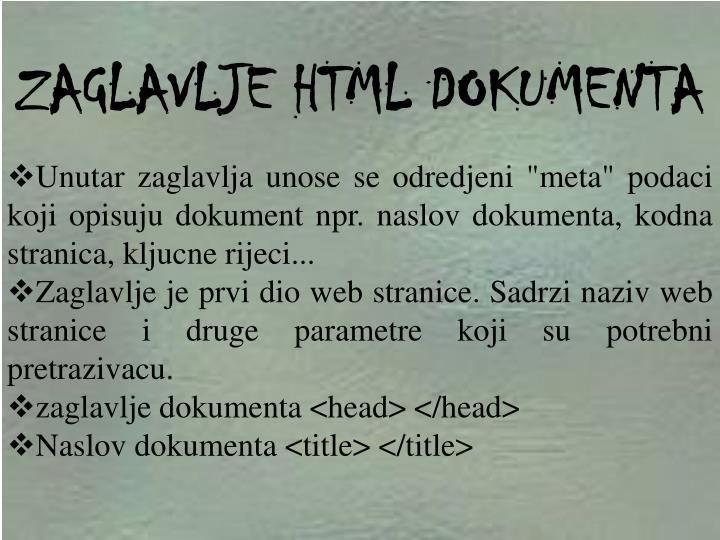 ZAGLAVLJE HTML DOKUMENTA