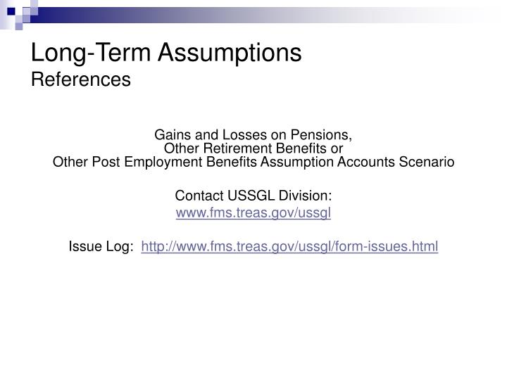 Long-Term Assumptions