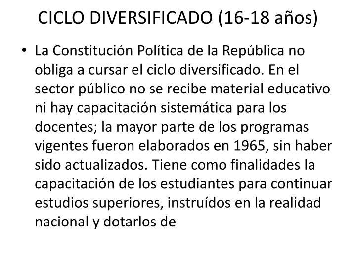 CICLO DIVERSIFICADO (16-18 años)
