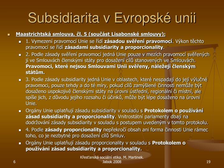 Subsidiarita v Evropské unii