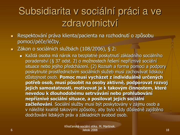 Subsidiarita v sociální práci a ve zdravotnictví