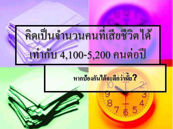 คิดเป็นจำนวนคนที่เสียชีวิตได้เท่ากับ 4,100-5,200 คนต่อปี