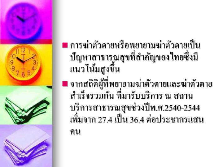การฆ่าตัวตายหรือพยายามฆ่าตัวตายเป็นปัญหาสาธารณสุขที่สำคัญของไทยซึ่งมีแนวโน้มสูงขึ้น