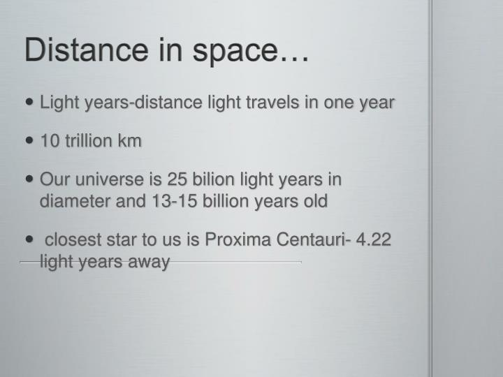 Distance in space…