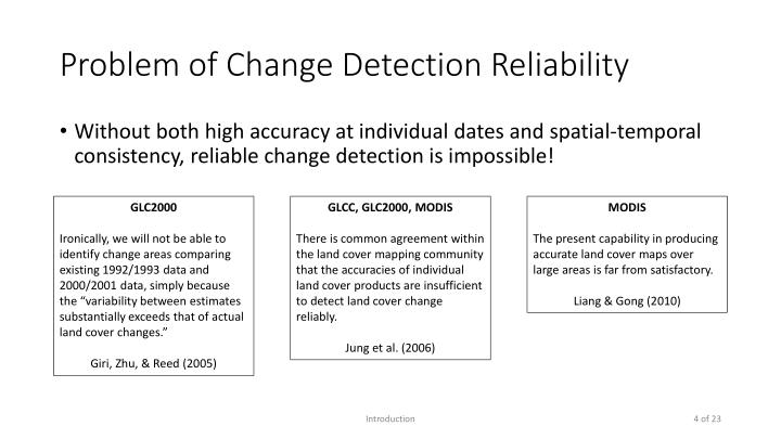 Problem of Change Detection Reliability