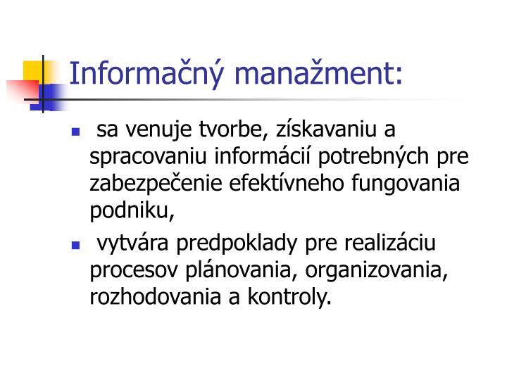 Informačný manažment: