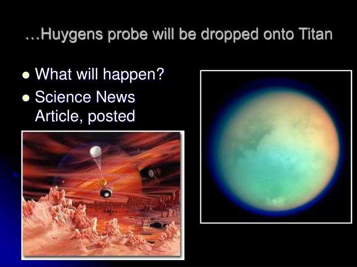 …Huygens probe will be dropped onto Titan