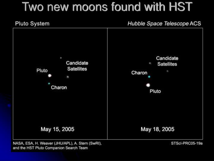 Two new moons found with HST