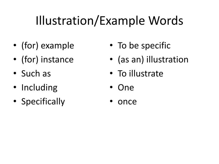 Illustration example words