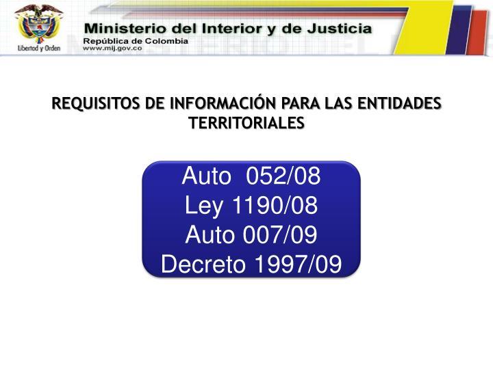 REQUISITOS DE INFORMACIÓN PARA LAS ENTIDADES TERRITORIALES