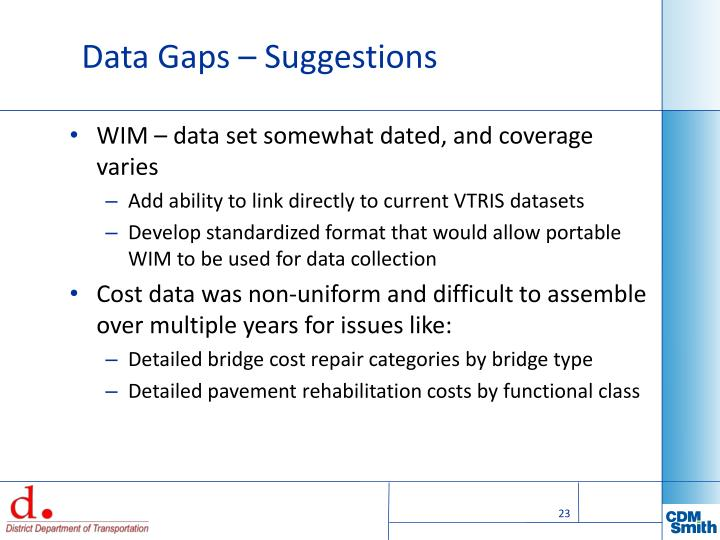 Data Gaps – Suggestions