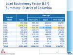 load equivalency factor lef summary district of columbia