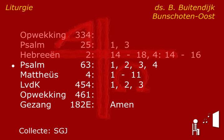 Liturgie ds. B. BuitendijkBunschoten-Oost