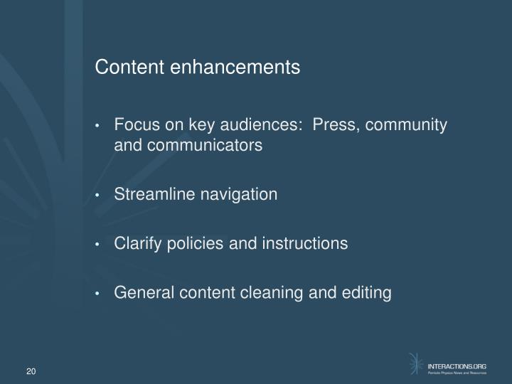 Content enhancements