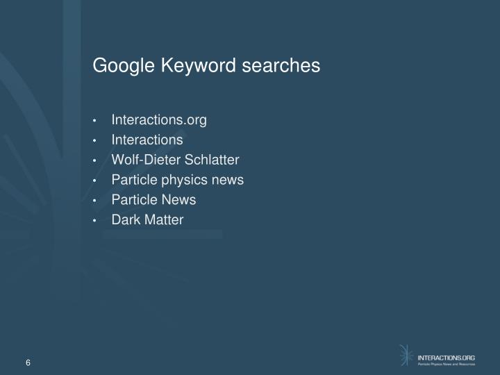 Google Keyword searches