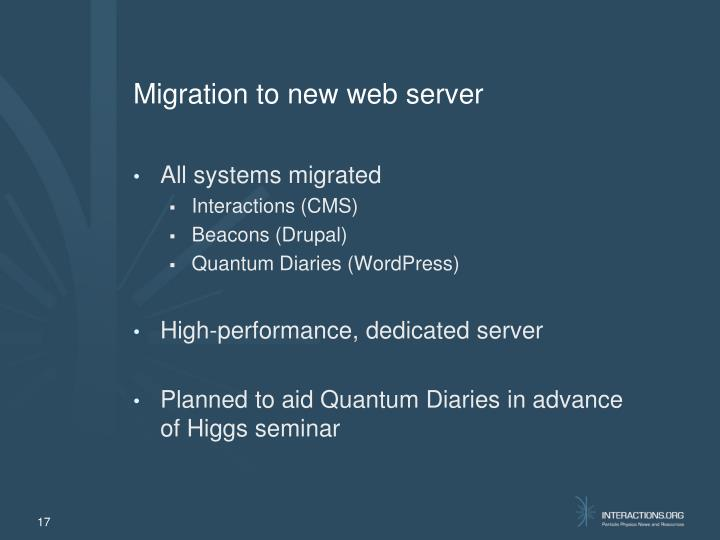 Migration to new web server