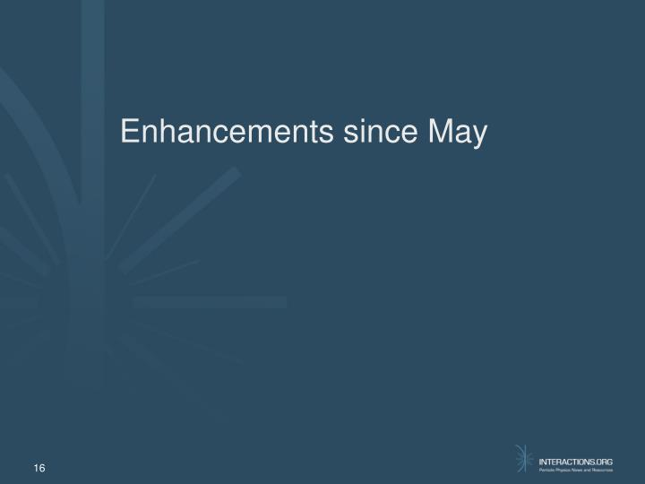 Enhancements since May