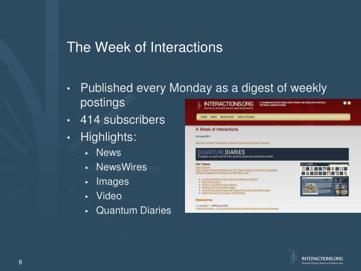 The Week of Interactions