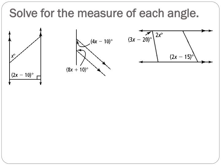 Solve for the measure of each angle.