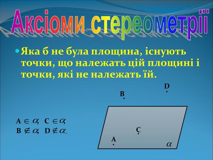 Аксіоми стереометрії
