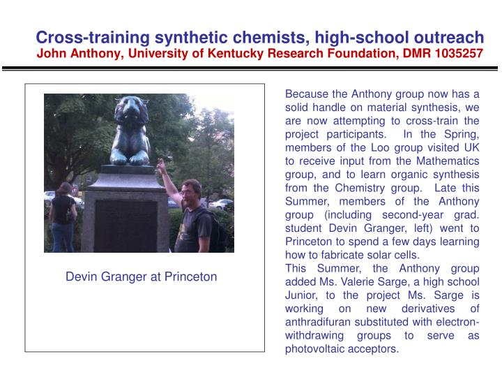 Cross-training synthetic chemists, high-school outreach