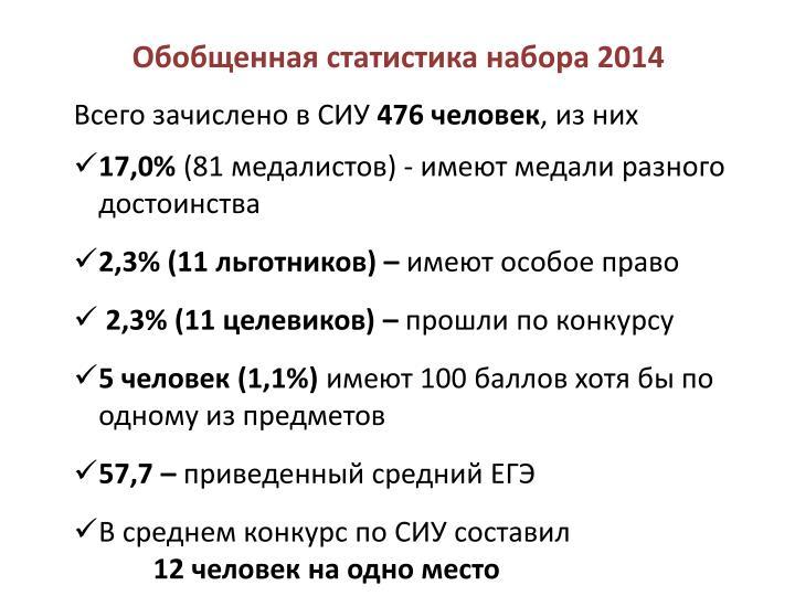 Обобщенная статистика набора 2014