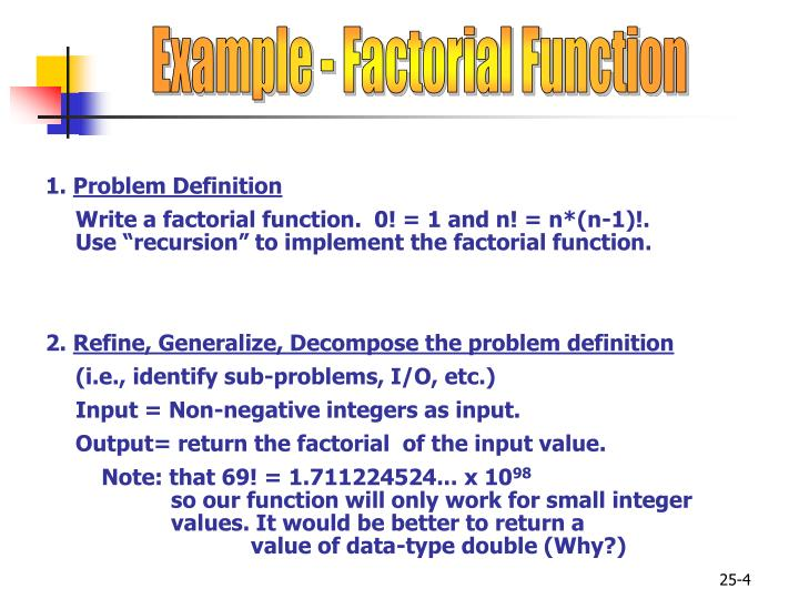 Example - Factorial Function