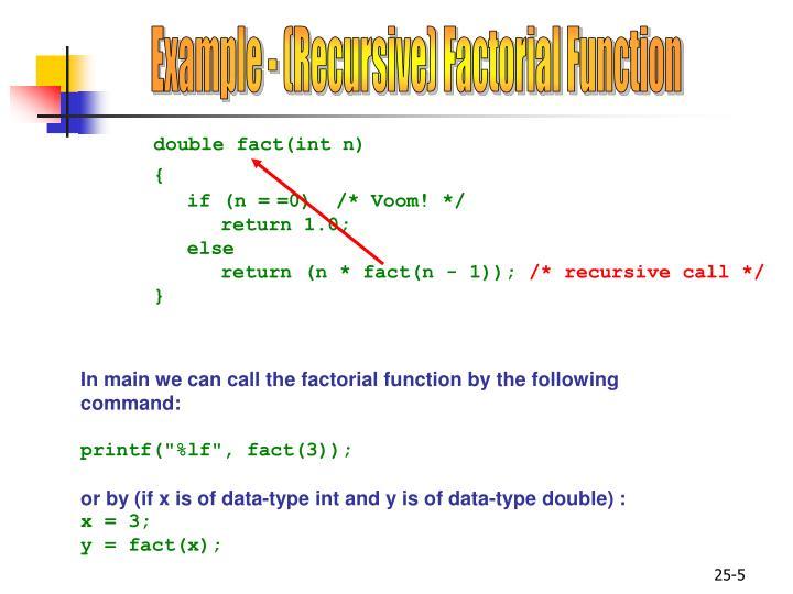 Example - (Recursive) Factorial Function
