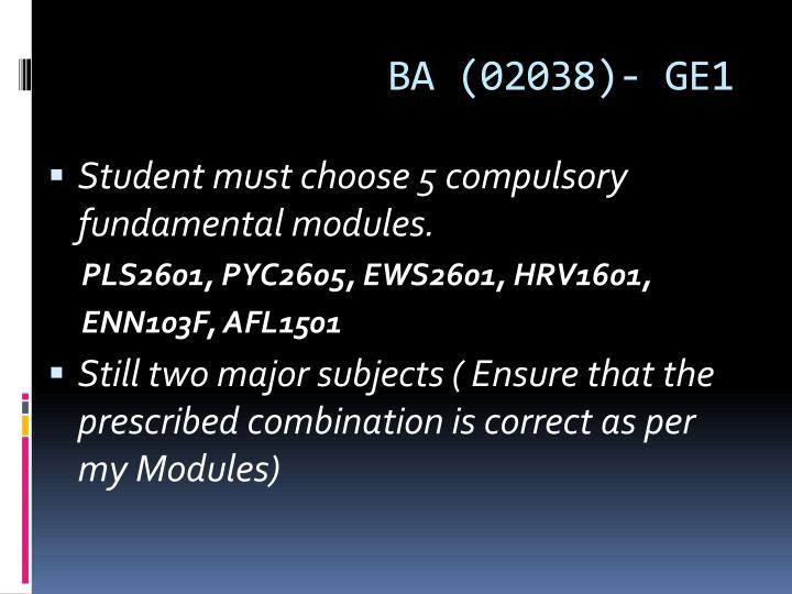 BA (02038)- GE1