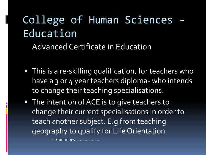 College of Human Sciences - Education