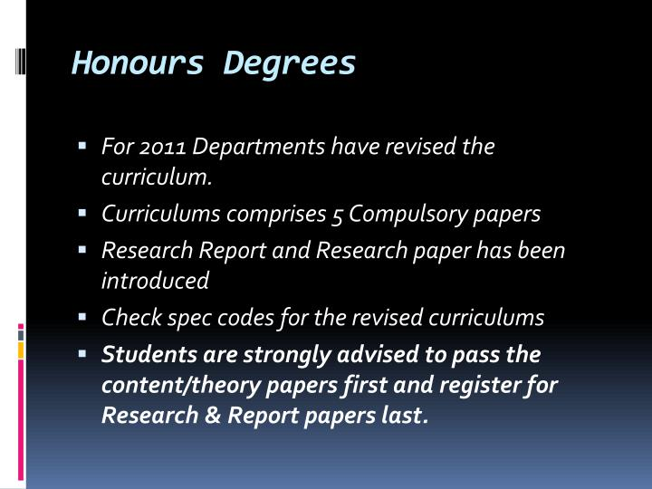 Honours Degrees