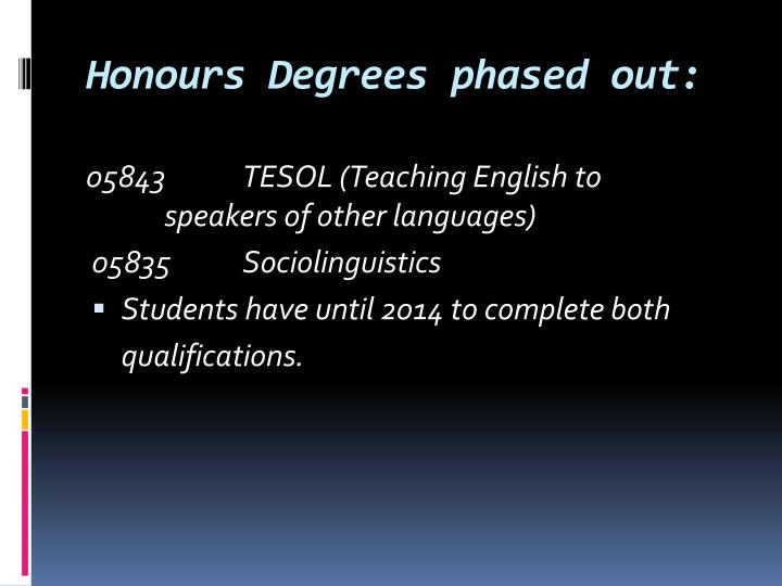 Honours Degrees phased out: